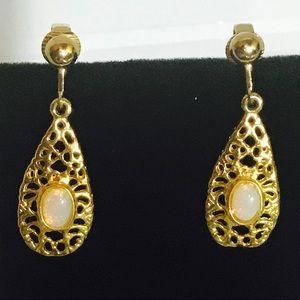Gold Opal Clip On Earrings